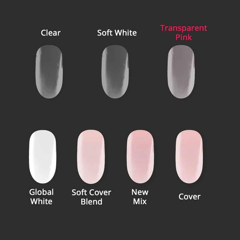 Vergleichschart Aufbaugele Transparent Pink